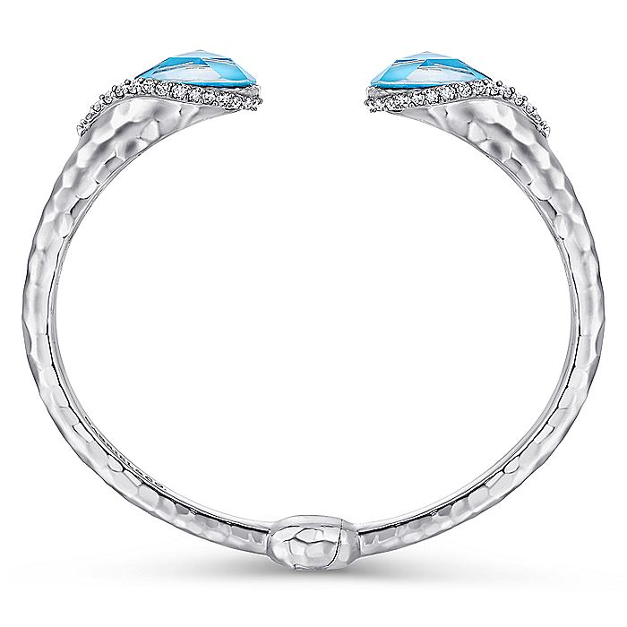 925 Sterling Silver Teardrop Rock Crystal/Turquoise and White Sapphire Split Bangle
