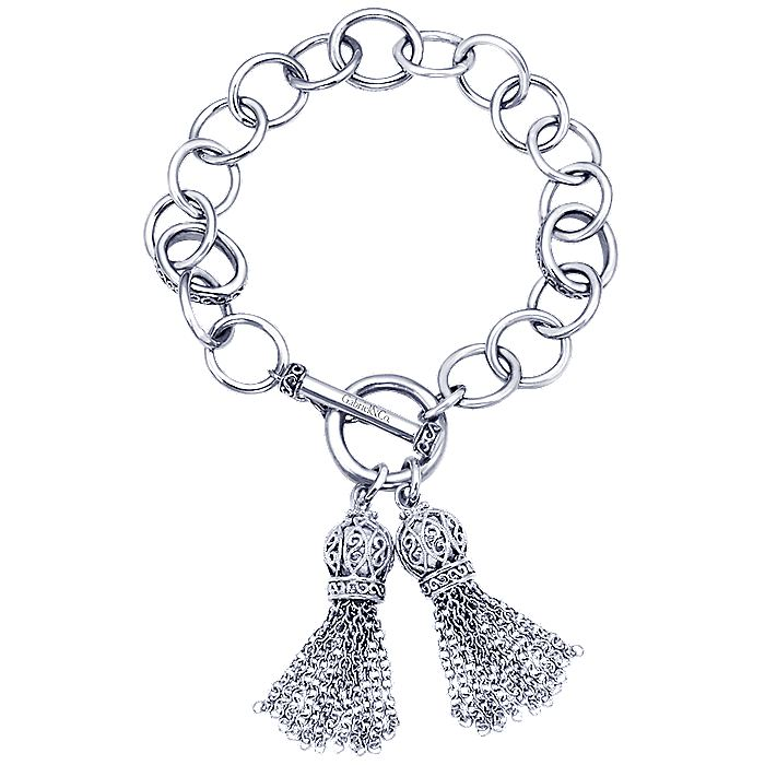 925 Sterling Silver Toggle Bracelet with Double Tassle Charms