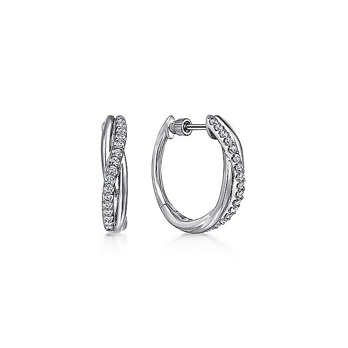 925 Sterling Silver Twisted 15mm White Sapphire Huggies