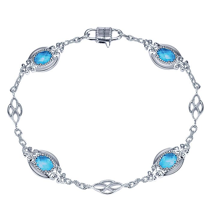 925 Sterling Silver Twisted Chain Bracelet with Oval Blue Topaz Stations