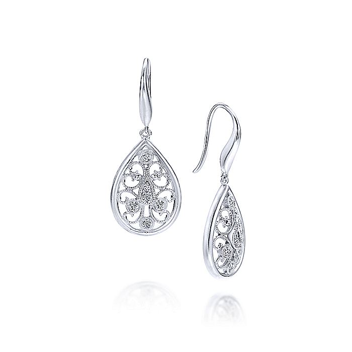 925 Sterling Silver Twisted Diamond Drop Earrings