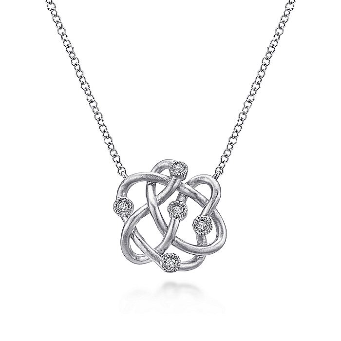 925 Sterling Silver Twisted Knot Diamond Pendant Necklace