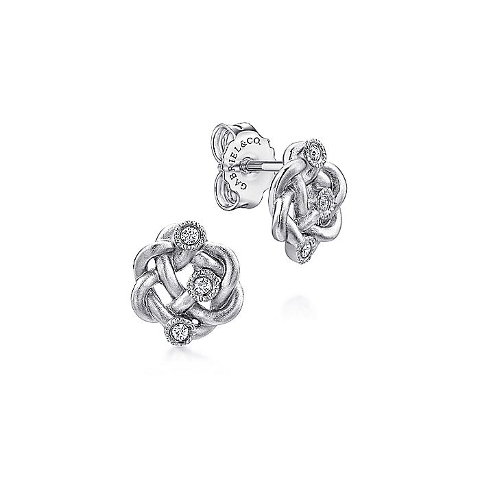 925 Sterling Silver Twisted Knot Diamond Stud Earrings