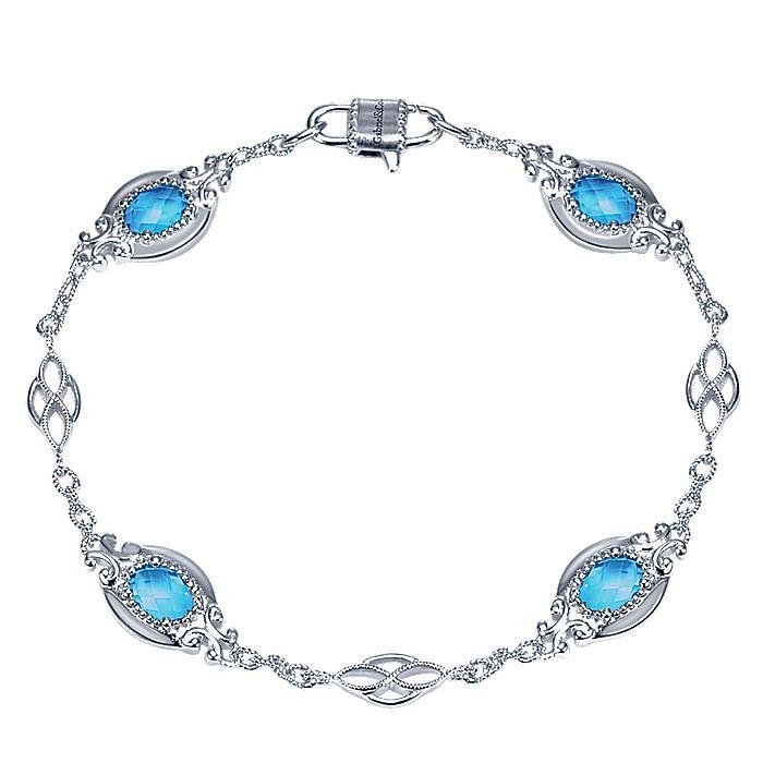 925 Sterling Silver Twisted Oval Blue Topaz Tennis Bracelet