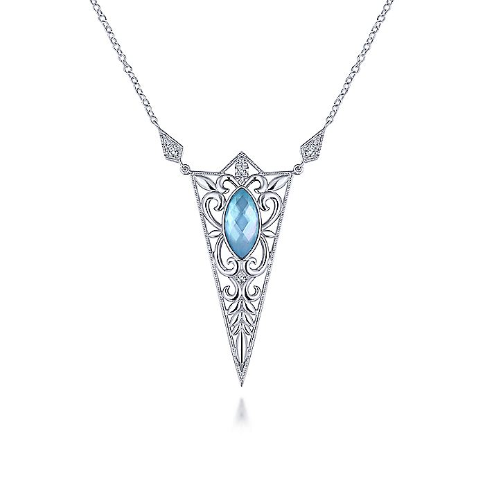 925 Sterling Silver Twisted Spiked Marquis Rock Crystal and White Mother of Pearl and Turquoise and White Sapphire Pendant Necklace