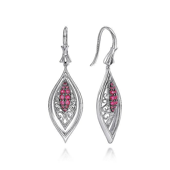 925 Sterling Silver Vintage Inspired Marquise Ruby Drop Earrings