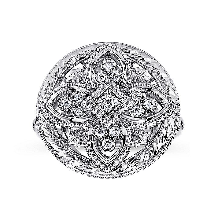 925 Sterling Silver Vintage Inspired Quatrefoil Ring with Diamonds
