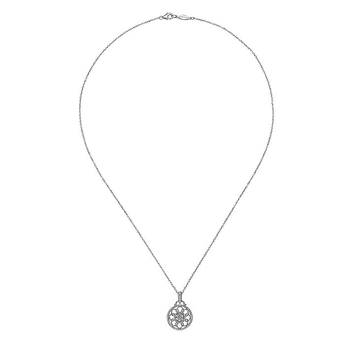 925 Sterling Silver Vintage Inspired Round Diamond Fashion Necklace