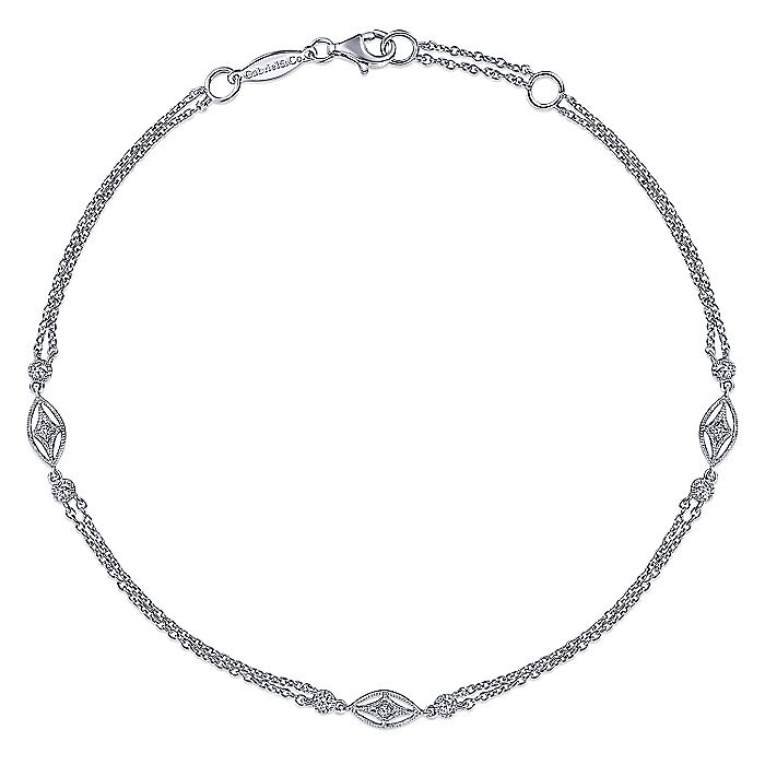 925 Sterling Silver White Sapphire Ankle Bracelets