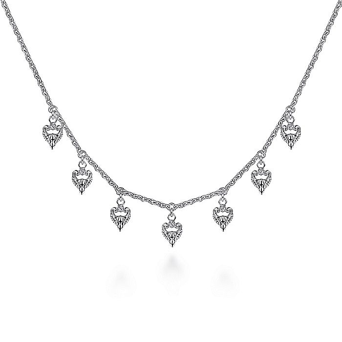 925 Sterling Silver White Sapphire Casted Drops Necklace