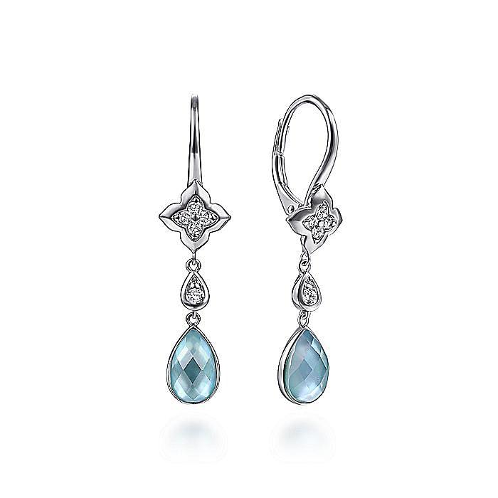 925 Sterling Silver White Sapphire Earrings with Blue Teardrops