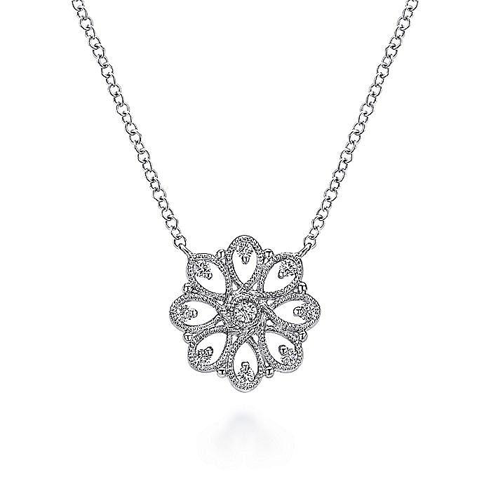 925 Sterling Silver White Sapphire Filligree Pendant Necklace