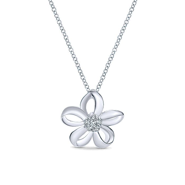925 Sterling Silver White Sapphire Flower Pendant Necklace