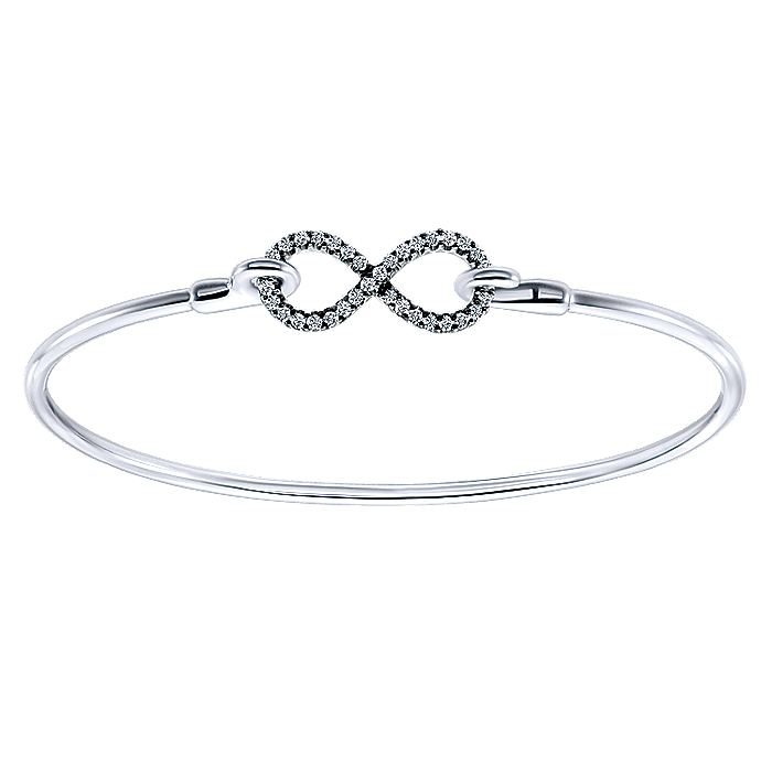 925 Sterling Silver White Sapphire Infinity Symbol Bangle