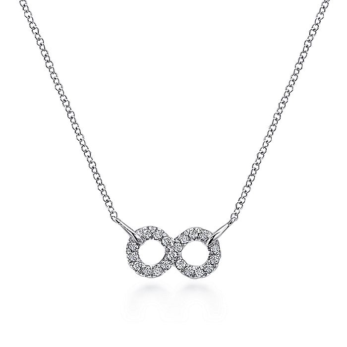 925 Sterling Silver White Sapphire Infinity Symbol Pendant Necklace