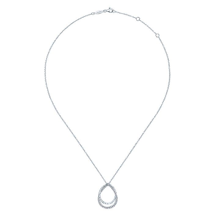 925 Sterling Silver White Sapphire Layered Pear Shaped Necklace