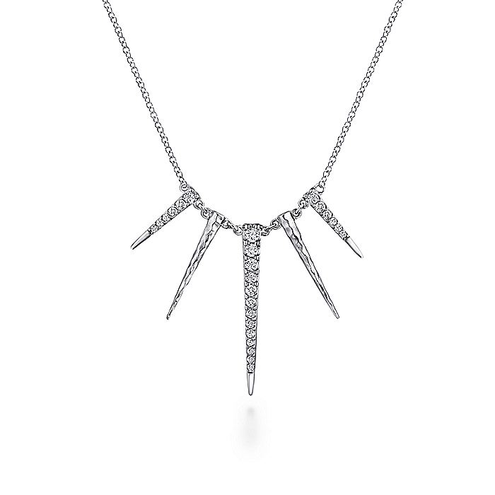 925 Sterling Silver White Sapphire Multi Spike Necklace
