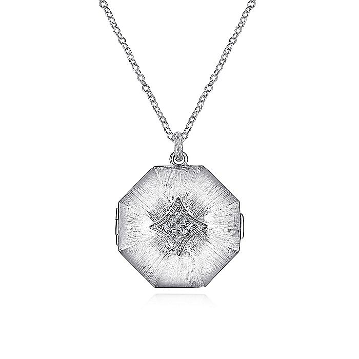 925 Sterling Silver White Sapphire Octagonal Locket Necklace