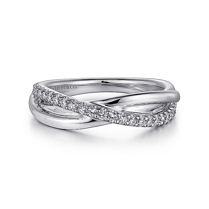 925 Sterling Silver White Sapphire Pavé Criss Cross Ring