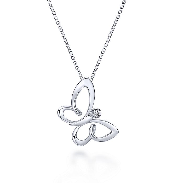 925 Sterling Silver White Sapphire Sideways Butterfly Pendant Necklace