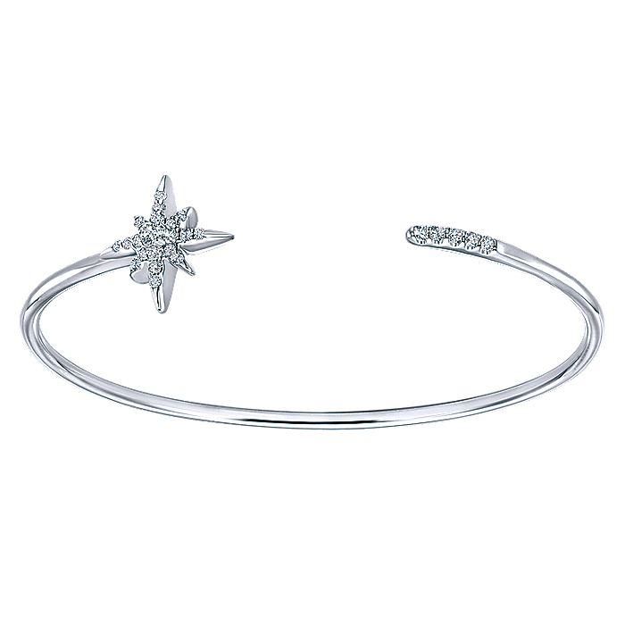 925 Sterling Silver White Sapphire Starburst Open Bangle