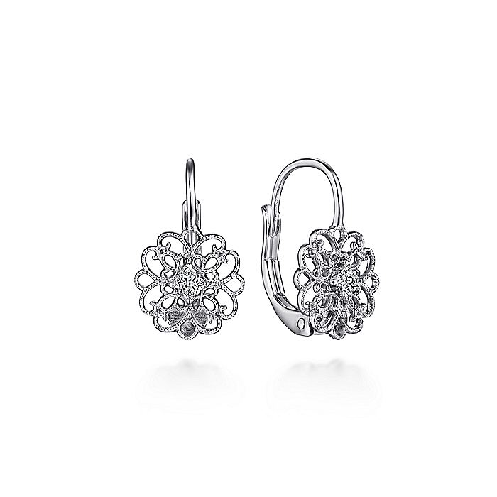 925 Sterling Silver White Sapphire Vintage Inspired Openwork Drop Earrings