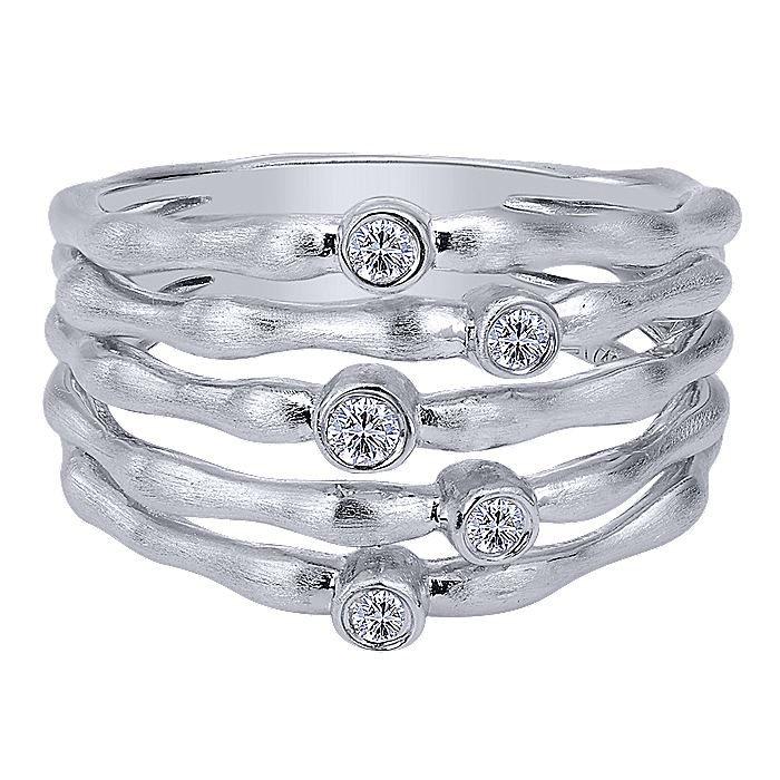 925 Sterling Silver Wide Band Multi Row White Sapphire Ring