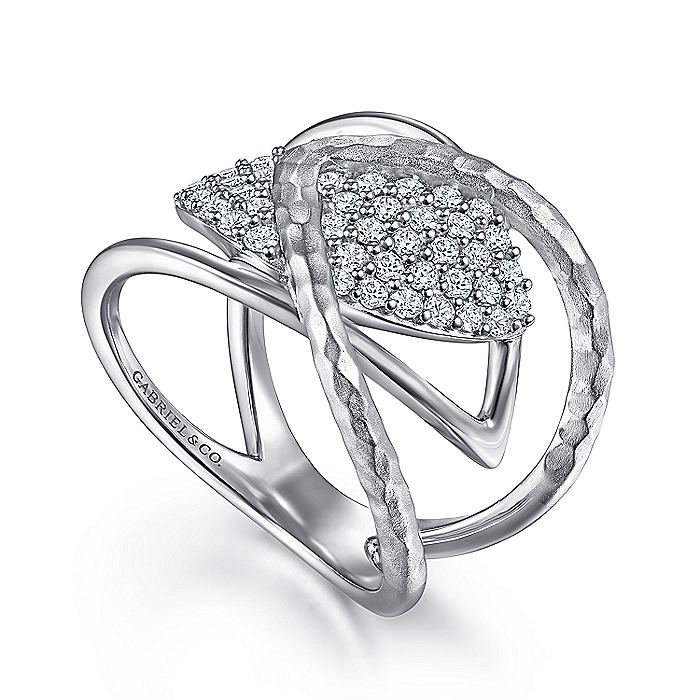 925 Sterling Silver Wide Band White Sapphire Cluster Ring