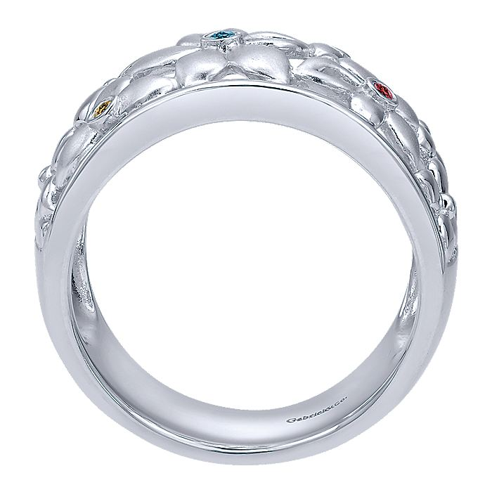 925 Sterling Silver Wide Flower Band with Multi Colored Stones