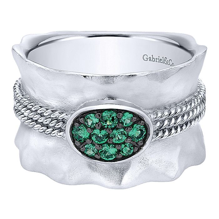 925 Sterling Silver Wide Hammered  Ring with Emerald Stone Cluster