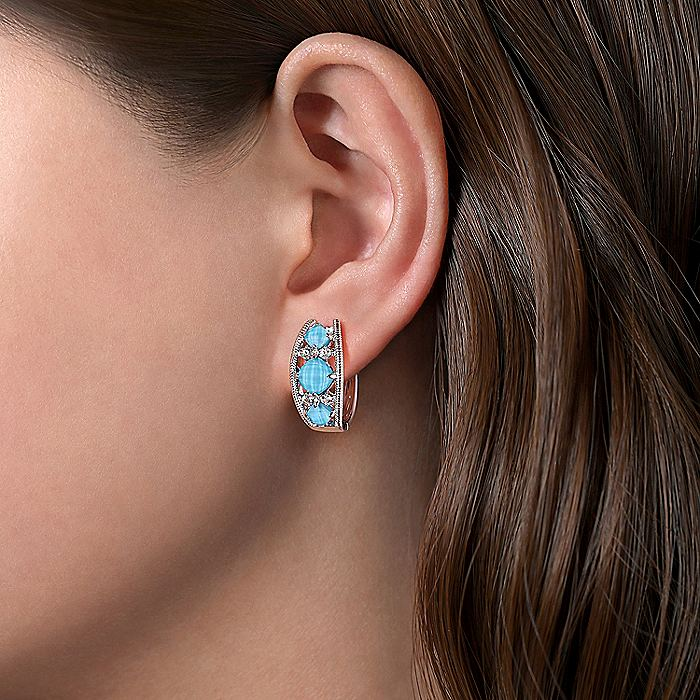 925 Sterling Silver Wide Rock Crystal/Turquoise/White Sapphire Huggie Earrings