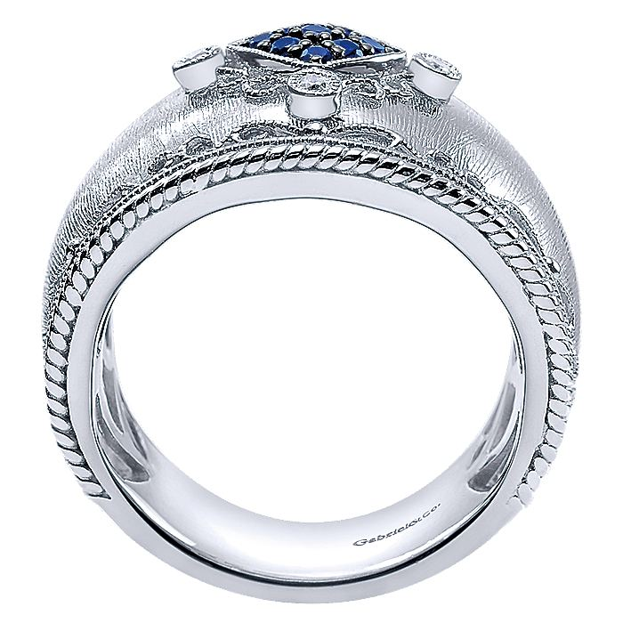 925 Sterling Silver Wide Sapphire and Diamond Brushed Finish Ring