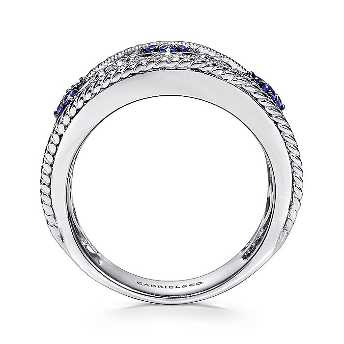 925 Sterling Silver Wide Sapphire and Diamond Ring with Filigree Accents