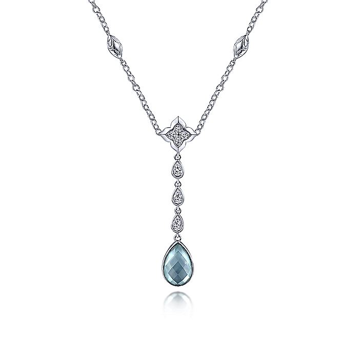 925 Sterling Silver Y Necklace with Teardrop Rock Crystal/White MOP/Green Onyx Y