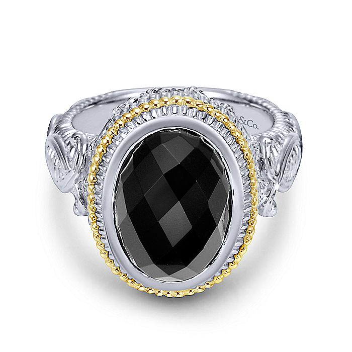925 Sterling Silver and 18K Yellow Gold Oval Onyx Ring