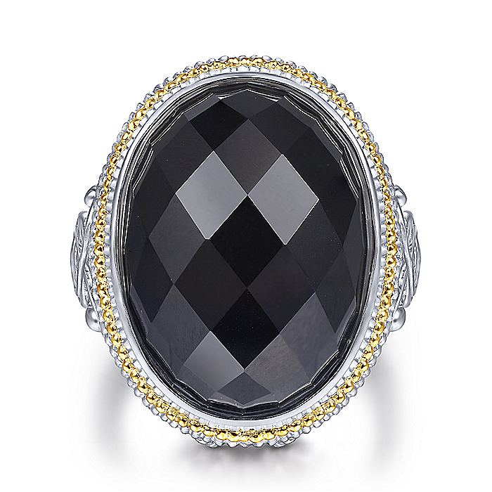 925 Sterling Silver and 18K Yellow Gold Oval Rock Crystal/Black Onyx Ring