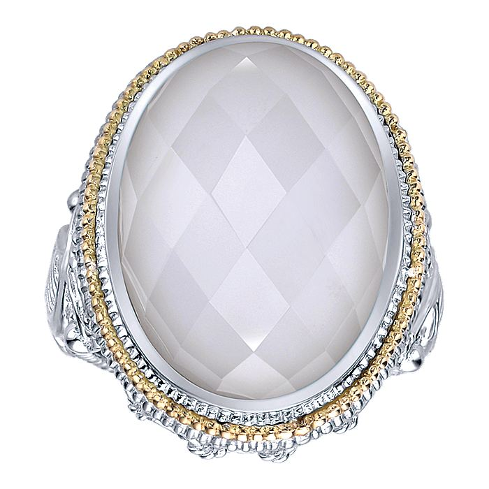925 Sterling Silver and 18K Yellow Gold Oval Rock Crystal/White Agate Ring
