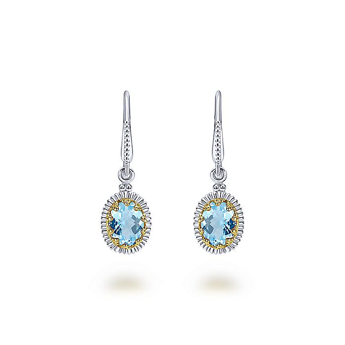 925 Sterling Silver and 18K Yellow Gold Oval Sky Blue Topaz Drop Earrings
