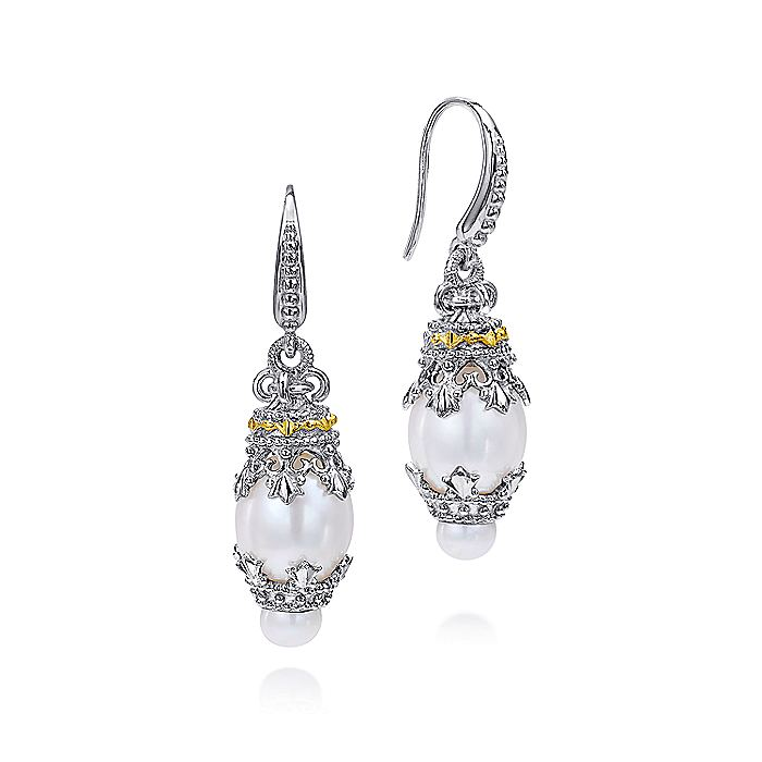 925 Sterling Silver and 18K Yellow Gold Vintage Inspired Cultured Pearl Drop Earrings