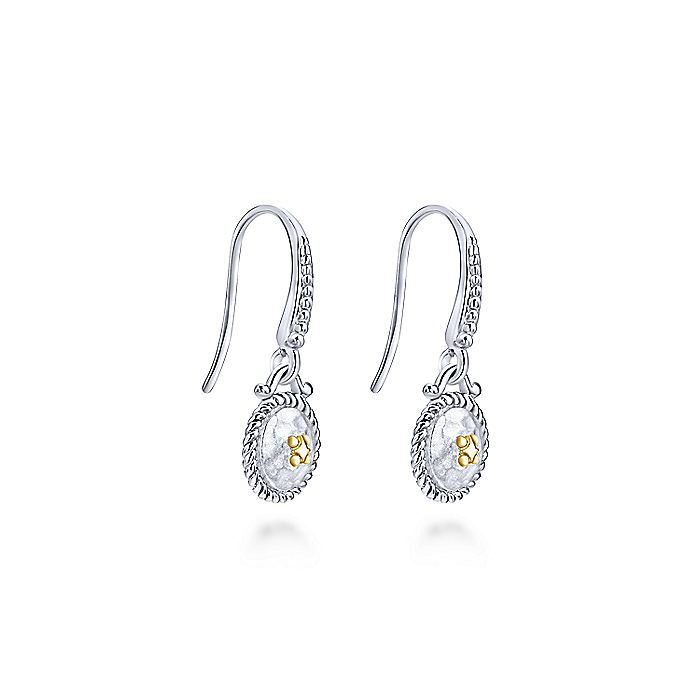 925 Sterling Silver and 18K Yellow Gold Vintage Inspired Round Drop Earrings