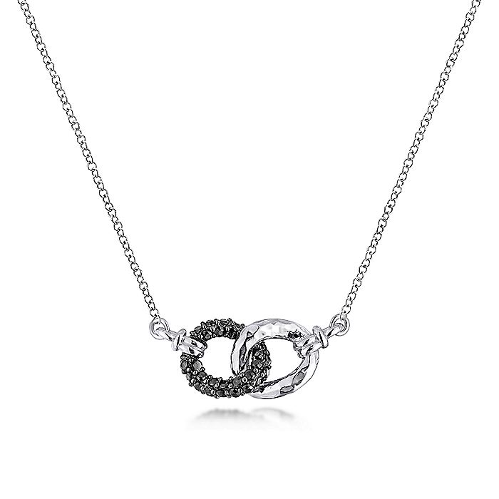 925 Sterling Silver and Black Spinel Interlocking Links Necklace