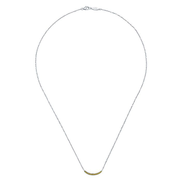 925 Sterling Silver and Citrine Curved Bar Necklace