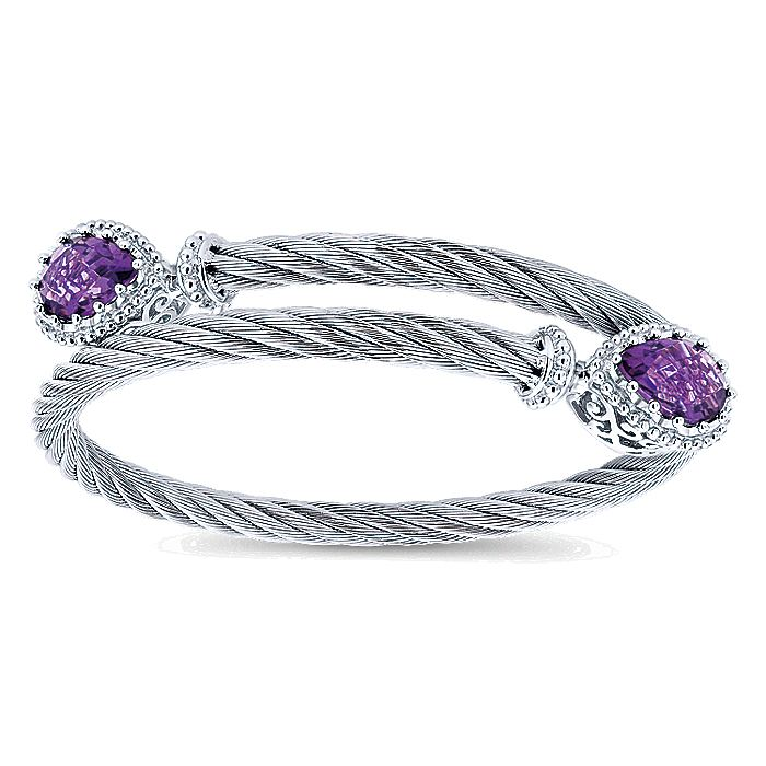 925 Sterling Silver and Stainless Steel Twisted Cable Amethyst Bypass Bangle
