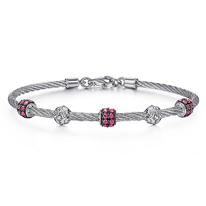 925 Sterling Silver and Stainless Steel Twisted Cable Bangle with Ruby Rondelle Stations