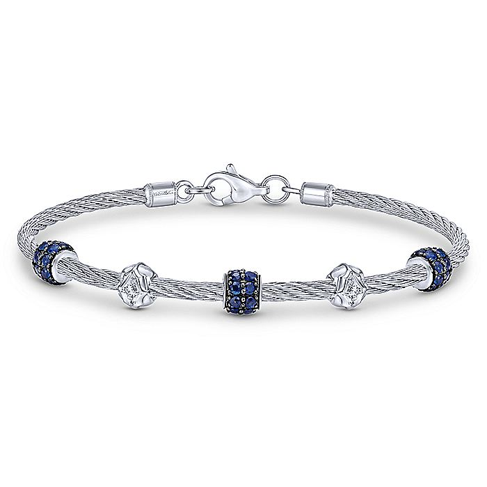 925 Sterling Silver and Stainless Steel Twisted Cable Bangle with Sapphire Rondelle Stations