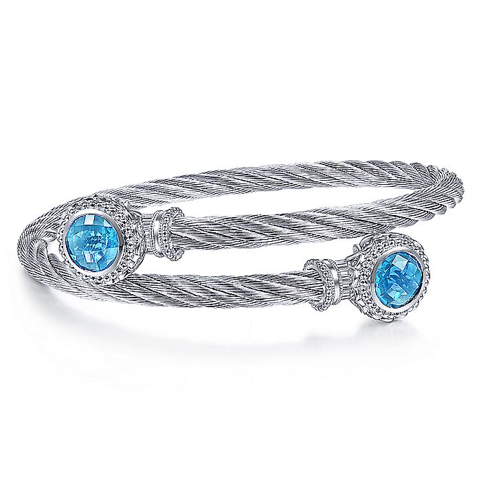925 Sterling Silver and Twisted Cable Stainless Steel Blue Topaz Stone Bypass Bangle