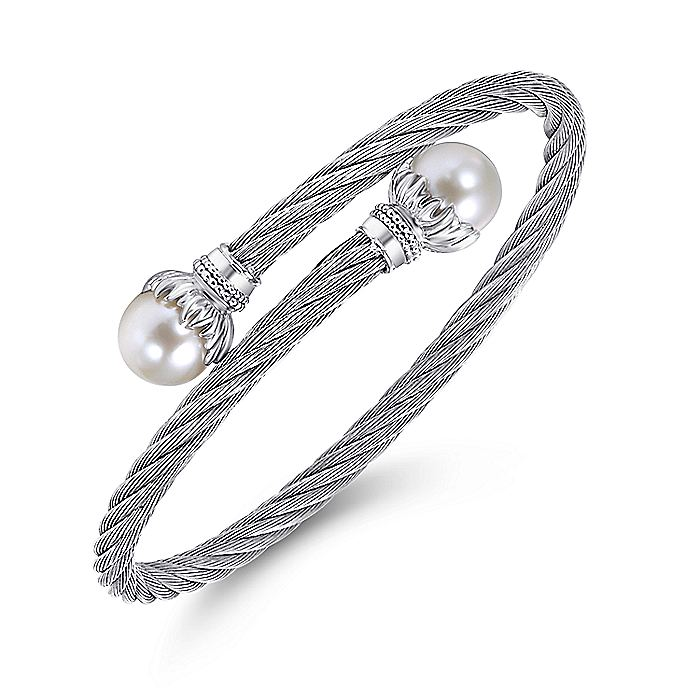 925 Sterling Silver and Twisted Cable Stainless Steel Cultured Pearl Bypass Bangle
