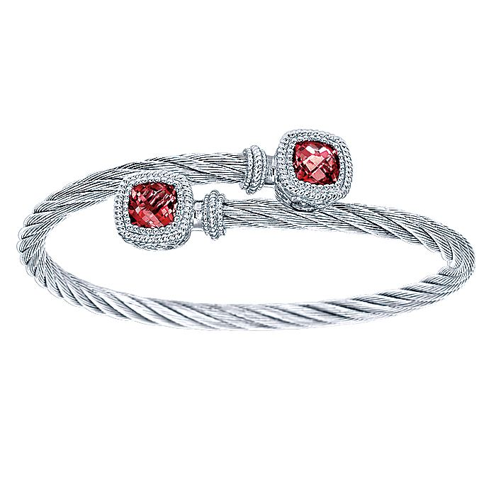 925 Sterling Silver and Twisted Cable Stainless Steel Garnet Stone Bypass Bangle