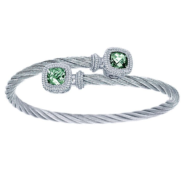 925 Sterling Silver and Twisted Cable Stainless Steel Green Amethyst Stone Bypass Bangle