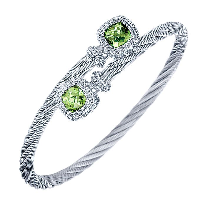 925 Sterling Silver and Twisted Cable Stainless Steel Peridot Stone Bypass Bangle